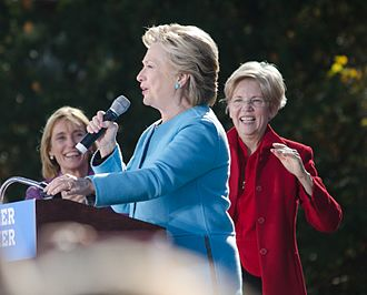 Hillary Clinton presidential campaign, 2016 - Clinton campaigning in Manchester, New Hampshire in October 2016. New Hampshire Governor Maggie Hassan (left) and Massachusetts Senator Elizabeth Warren (right) in the background.