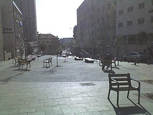 Hillel Street - Hillel Street, Kikar Roma, eastward. Red-roofed structure center left is the Italian Synagogue.