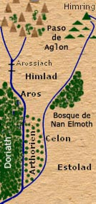 Minor places in Beleriand - Map of Himlad