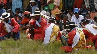 Culture of Madagascar - Hiragasy musicians wearing coordinating lambas