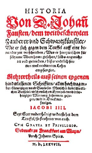 Historia von D. Johann Fausten (chapbook) - Frontispiece of the Historia von D. Johann Fausten, published in 1587 by Johann Spies