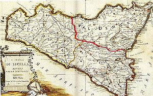 "Three valli of Sicily - Historical map of Sicily showing the three provinces or ""valli."""