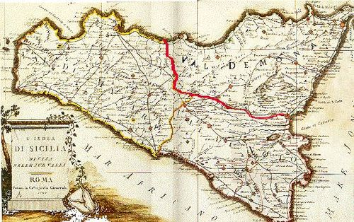 "Historical map of Sicily showing the three provinces or ""valli."" Historical-map-of-Sicily-bjs-2.jpg"