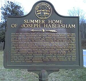 Joseph Habersham - Historical marker at Joseph Habersham's summer home, Clarkesville, Georgia