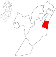Location of Hoboken within Hudson County. Inset: Location of Hudson County highlighted in the State of New Jersey.