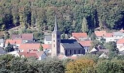 Ortskern von Namborn mit der Kirche Mariä Himmelfahrt. Blick von der Liebenburg aus.