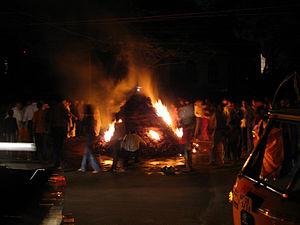 Holi bonfire.