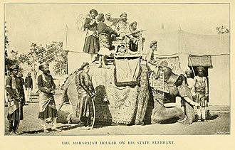 Indore State - The Maharaja of Indore on his state elephant.