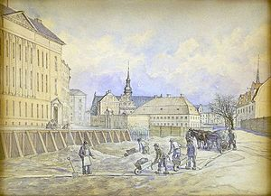Holmens Kanal - The canal is being filled, 1864