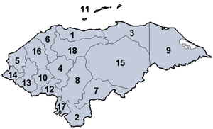 Departments of Honduras - Image: Honduras Divisions