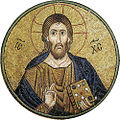 Hosios Loukas (nave, vault over south cross-arm) - Pantocrator 02.jpg
