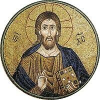 Icoon van Jezus als Pantocrator, mozaïek uit het Hosios Loukas klooster in Boeotië, Griekenland. Vroege 11de eeuw
