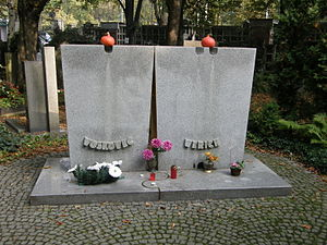 Jan Werich - Tombstone of Voskovec and Werich at Olšany Cemetery in Prague