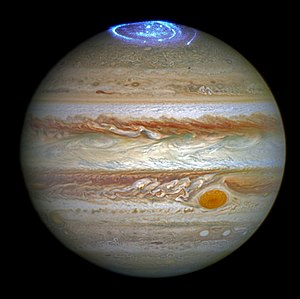 Jupiter - Aurorae on the north pole of Jupiter as viewed by Hubble