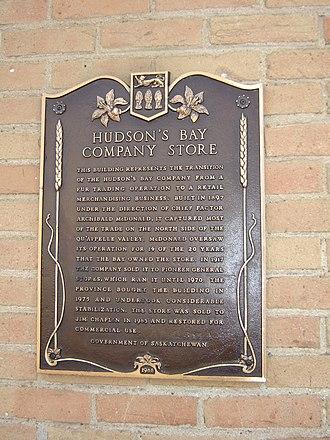 Saskatchewan Highway 35 - 1897 Hudson's Bay Company plaque in Fort Qu'Appelle
