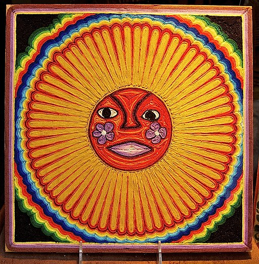Huichol string art sun