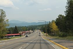 Looking east at Hungry Horse Montana on U.S. Route 2