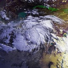 Satellite image of hurricane near landfall.