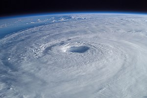 Tropical cyclone - Hurricane Isabel (2003) as seen from orbit during Expedition 7 of the International Space Station. The eye, eyewall, and surrounding rainbands, characteristics of tropical cyclones in the narrow sense, are clearly visible in this view from space.