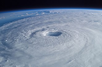Eye (cyclone) - An image of Hurricane Isabel as seen from the International Space Station showing a well-defined eye at the center of the storm.