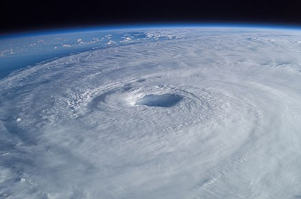 Hurricane Isabel (2003) as seen from orbit during Expedition 7 of the International Space Station. Hurricane Isabel from ISS.jpg