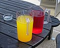Hydration break jugs at Bishop's Stortford Cricket Club, Hertfordshire.jpg