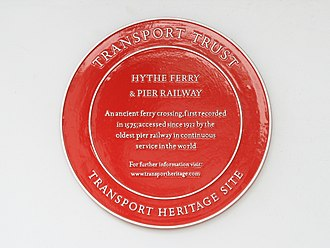 Transport Trust - Transport Heritage plaque at Hythe Pier and Railway the oldest working pier railway in the world.