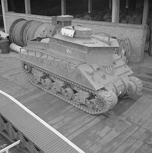 Beach armoured recovery vehicle - A Sherman BARV at Earl's Court in London, February 1944
