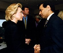 Ijaz with Hillary Clinton in July 1999