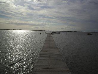 Lagoa dos Patos - Pier extending from the Ilha dos Marinheiros into the lagoon