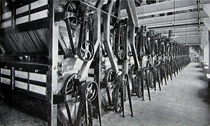 Millennium Mills - Main centrifugal dressing machine floor, Spiller's Millennium Mills, Royal Victoria Dock, London, 1934
