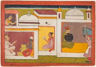 Inside a building, Madhava sits facing a man holding a scale, from a Madhavanala Kamakandala series