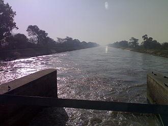 Indira Gandhi Canal - a photo from a bridge near village Lohgarh(district:-Sirsa), where Indira Gandhi Canal enters from Punjab into Haryana