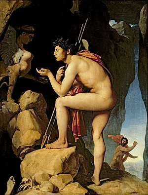 Psychosexual development - Oedipus complex: Oedipus explains the riddle of the Sphinx, Jean Auguste Dominique Ingres. (ca. 1805)