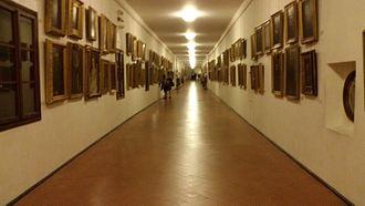 Vasari Corridor - Inside view of the Vasari corridor from the Uffizi Gallery toward Palazzo Pitti.
