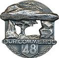Insigne régimentaire du 48e Régiment d'Infanterie, DUR COMME ROC.jpg