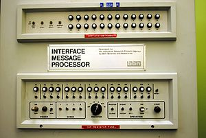 Interface Message Processor - The front panel of first IMP, taken at the opening of the Kleinrock Internet Heritage Site and Archive