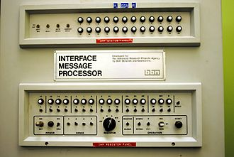 Social media - Front panel of the late-1960s-era ARPANET Interface Message Processor.