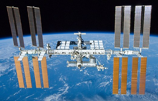 The International Space Station is used to conduct science experiments of outer space International Space Station after undocking of STS-132.jpg