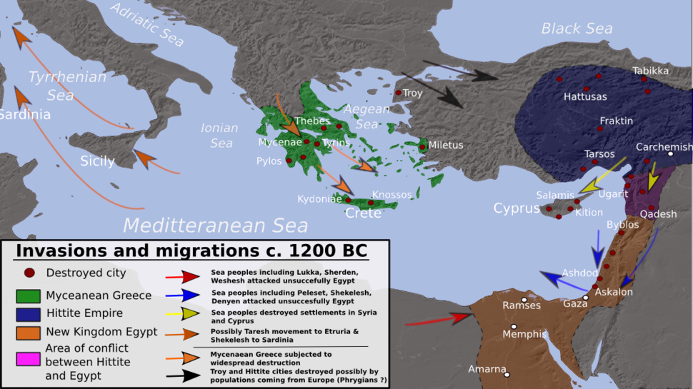 Invasions, destructions and possible population movements during the Bronze Age Collapse, ca. 1200 BC