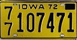 Iowa 1972 license plate - Number 77 107471.jpg