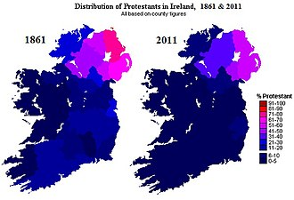 Ulster Protestants - Changes in distribution of Irish Protestants, 1861–2011