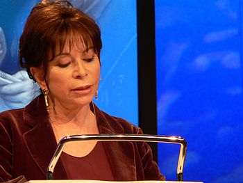 English: Isabel Allende, Chilean novelist, tal...
