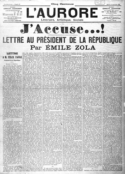 A newspaper headline for Emile Zola's open letter to the French government and the country, condemning the treatment of Captain Alfred Dreyfus during the Dreyfus Affair J'accuse - Gallica - page 1.jpg