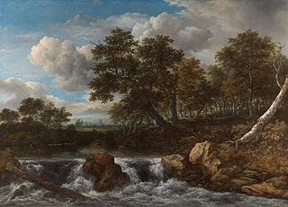 <i>Landscape with Waterfall</i> painting by Jacob Isaacksz. van Ruisdael