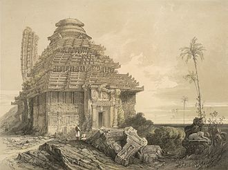 Konark Sun Temple - A lithography plate from James Fergusson's 'Ancient Architecture in Hindoostan' (1847). It depicts part of the main tower still standing.