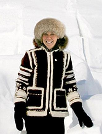 Jan Brett - Brett at the Arctic Circle in Nunavut, Canada, researching The Three Snow Bears, 2007
