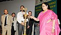 "Jayanthi Natarajan lighting the lamp to inaugurate ""A workshop to review Implementation of the Global Tiger Recovery Program"", in New Delhi on May 15, 2012.jpg"