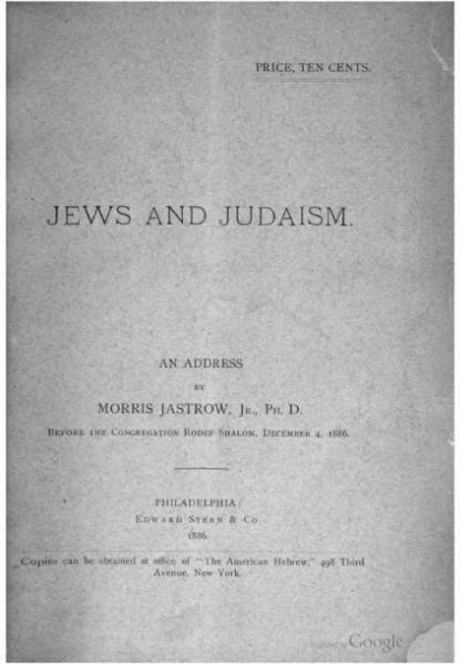 File:Jews and Judaism (Morris Jastrow).djvu