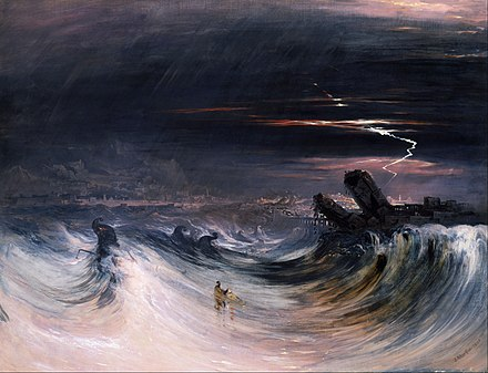 The prophesied destruction of Tyre as painted by John Martin. John Martin - Destruction of Tyre - Google Art Project.jpg